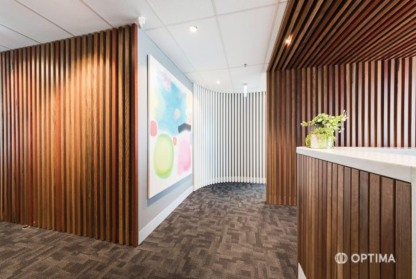 Health Care reception vertical wood panel feature